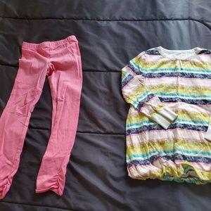 girl 5T long sleeve top & pink leggings